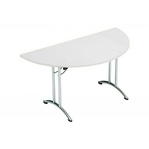 Folding Table Semi Circular Chrome Legs 25mm Top W1500xD750xH725mm White Morph Fold