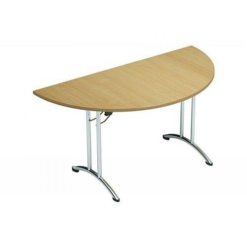 Folding Table Semi Circular Chrome Legs 25mm Top W1500xD750xH725mm Urban Oak Morph Fold