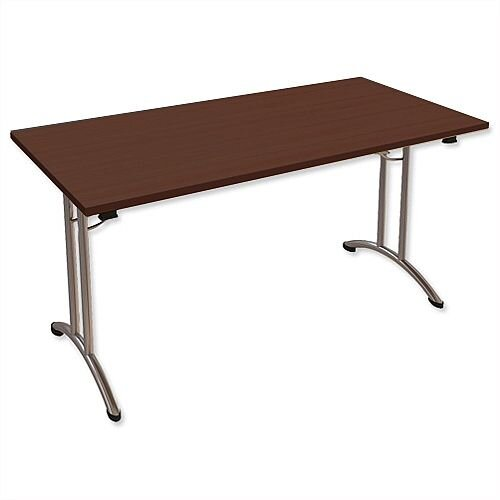 Folding Table Rectangular Chrome Legs 25mm Top W1500xD750xH725mm Dark Walnut Morph Fold