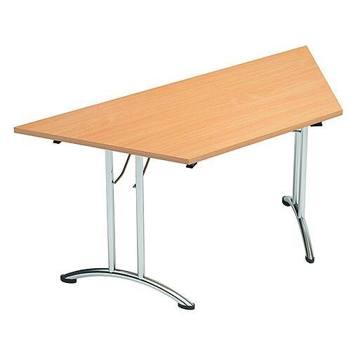 Folding Table Trapezoidal Chrome Legs 25mm Top W1500xD750xH725mm Beech Morph Fold