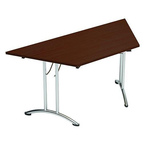 Folding Table Trapezoidal Chrome Legs 25mm Top W1500xD750xH725mm Dark Walnut Morph Fold