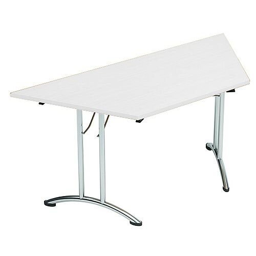 Folding Table Trapezoidal Chrome Legs 25mm Top W1500xD750xH725mm White Morph Fold