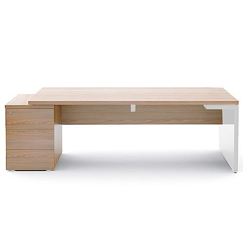 Mito Executive Desk With Left Hand Pedestal 2220mm Light Sycamore &White