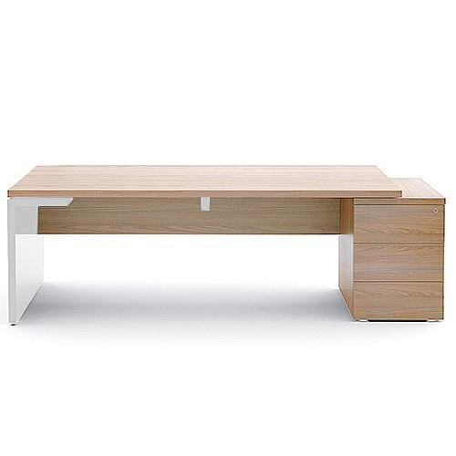 Mito Executive Desk With Right Hand Pedestal 2220mm Light Sycamore &White