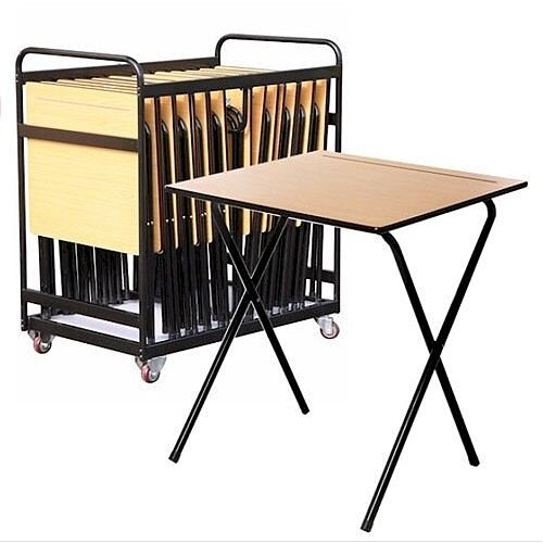 20 Exam Desk &Trolley Bundle - Black Exam Desk Trolley Supplied With 20 Beech Exam Desks. Ideal For Any School, College, Education Center &More.
