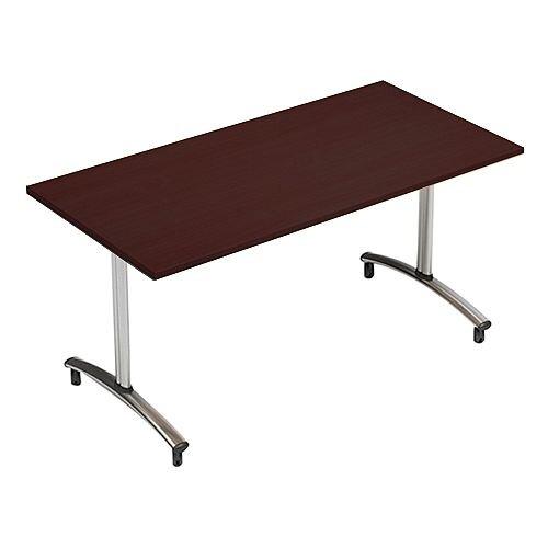 1200mm Wide Rectangular Flip Top Table On Wheels Dark Walnut Morph Tilt