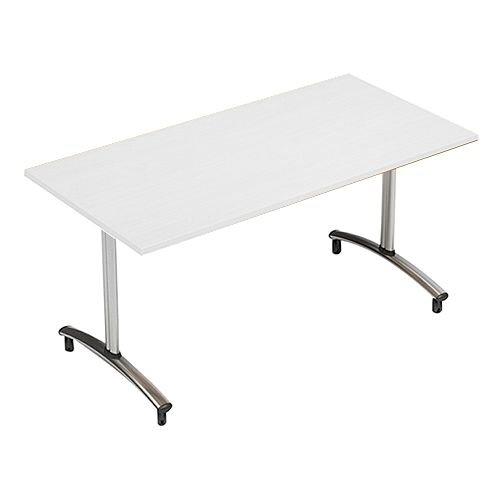 1200mm Wide Rectangular Flip Top Table On Wheels White Morph Tilt