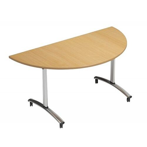 1500mm Semi Circular Flip Top Table On Wheels Beech Morph Tilt