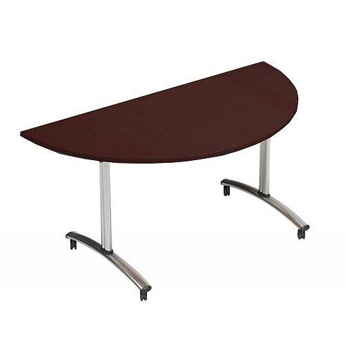 1500mm Semi Circular Flip Top Table On Wheels Dark Walnut Morph Tilt