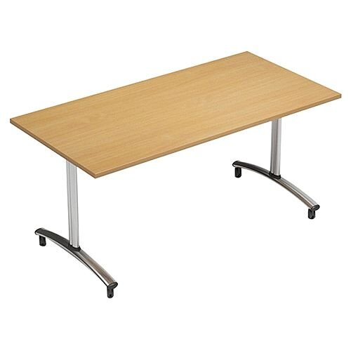 1500mm Wide Rectangular Flip Top Table On Wheels Beech Morph Tilt