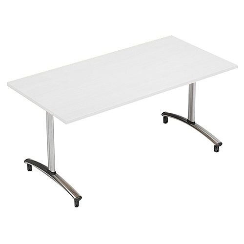 1500mm Wide Rectangular Flip Top Table On Wheels White Morph Tilt