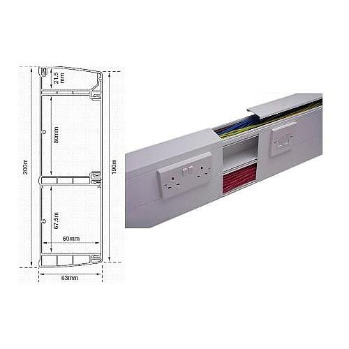 Cat 6 Data Trunking System 3m lgth - White