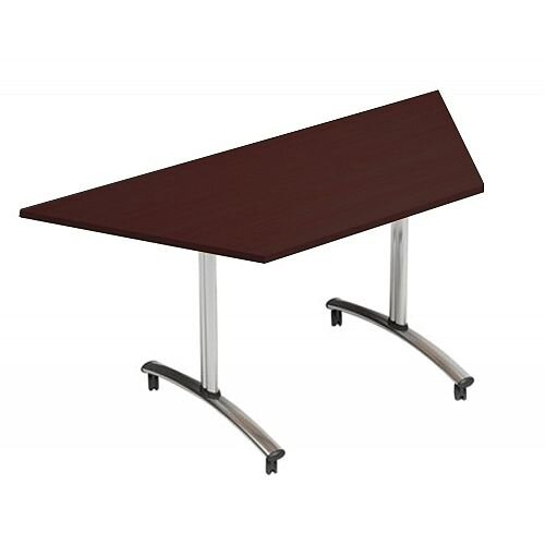 1500mm Trapezoidal Flip Top Table On Wheels Dark Walnut Morph Tilt