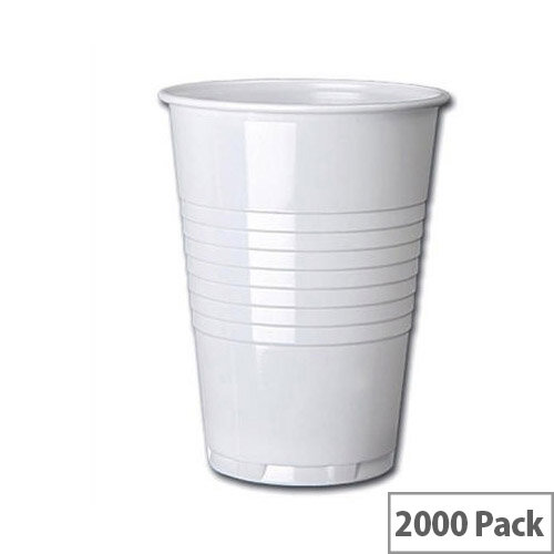 Nupik Tall Plastic Disposable Vending Cold Drink Cups 7oz/200ml White [Pack of 2000] 5585