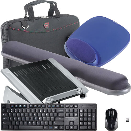 "Working from Home Office Bundle Kit - Laptop Riser, Keyboard and Mouse Set, Mouse Pad, Wrist Rest, Falcon Laptop Bag 16"" - All in One Set"