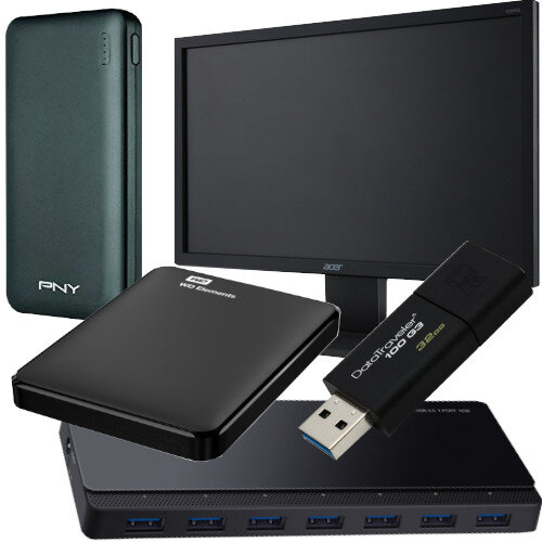 "Working from Home Office Bundle Kit - Computer Monitor 21.5"" Full HD,  USB Stick 32 GB - USB 3.0, Fast and Portable External HDD 1TB, Power Bank 10.000 mAh, 7 USB 3.0 Ports HUB - All in One Set"