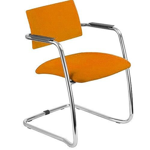 O.Q. Series Chrome Frame Orange Stackable Meeting Chair With Semi Open Back  And Sled Base