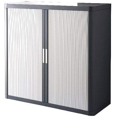 Paperflow Easy Office Cupboard 1 Metre Chrome/Grey with 2 Shelves EE000059