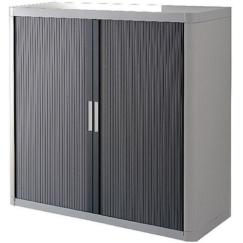Paperflow Easy Office Cupboard 1 Metre Grey/Chrome with 2 Shelves EE000060