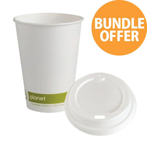 Planet 8oz Single Wall Cups &Lids Pack of 50 Bundle Offer