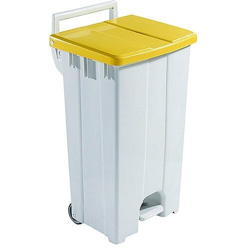 Plastic Pedal Bin with Lid 90 Litre Grey/Yellow 357002