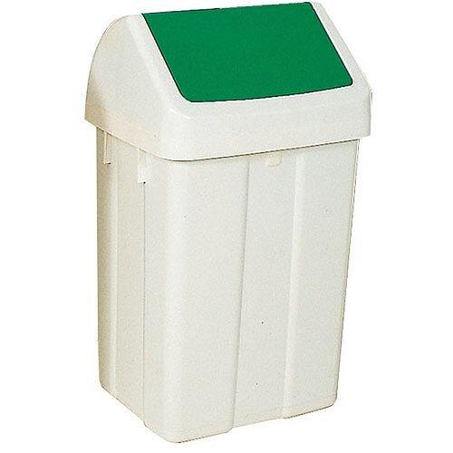 Plastic Swing Top Bin 50 Litre White/Green 330351
