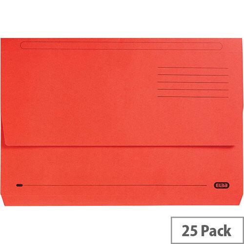 Premium Document Wallet Foolscap Red Pack 25 Elba