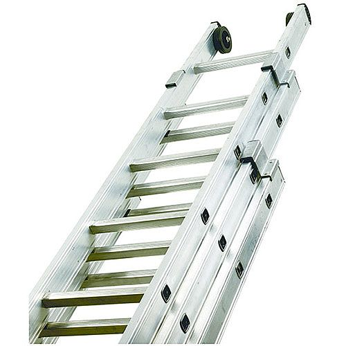 EN131-GS-NF Push Up Aluminium 36 Rung Ladder 3 Section Extended Height 8.63M Closed Height 3.6M 150kg