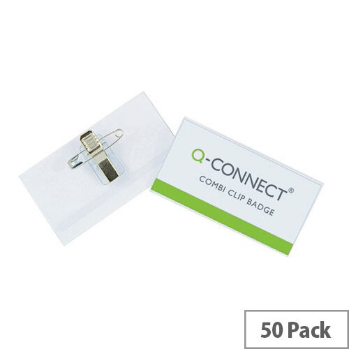Q-Connect Combination Badges 50 Pack – 54 x 90mm, Sturdy PVC Badges, Rotating, White Cards Included, Pin Fastening, Suitable For Business Events &Transparent (KF01567)