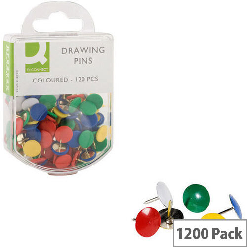 Q-Connect Drawing Pin Coloured Head Pack 10 x120 KF02020Q