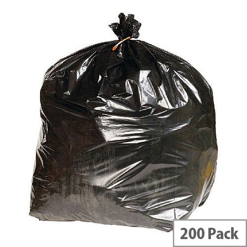 Heavy Duty Rubbish Refuse Sacks With 90 Liter Capacity. Supplied In A Convenient Dispenser Box. Pack Of 200. Reinforced To Reduce Chance Of Ripping &Tearing. Black In Colour. Ideal For Use In Schools, Offices, Colleges, Homes &More.
