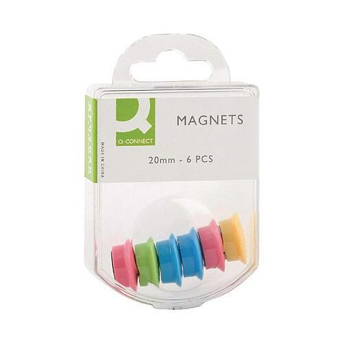 Q-Connect Magnet 24mm Assorted Colours Pack 6 x 10  KF02040Q