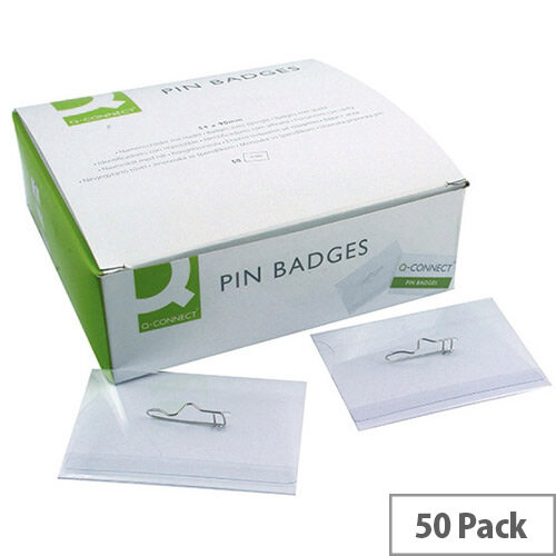 Q-Connect Pin Badges 50 Pack – 54 x 90mm, Sturdy PVC Badges, Rotating, White Cards Included, Suitable For Business Events &Transparent (KF01564)