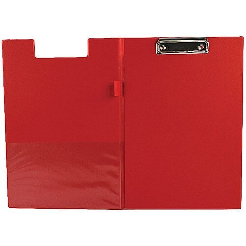 Q-Connect PVC Foldover Clipboard Foolscap/A4 Red