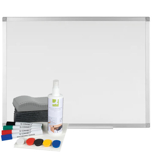 Whiteboard Bundle Q-Connect - Aluminium Magnetic Whiteboard 900x600mm &Whiteboard Starter Kit