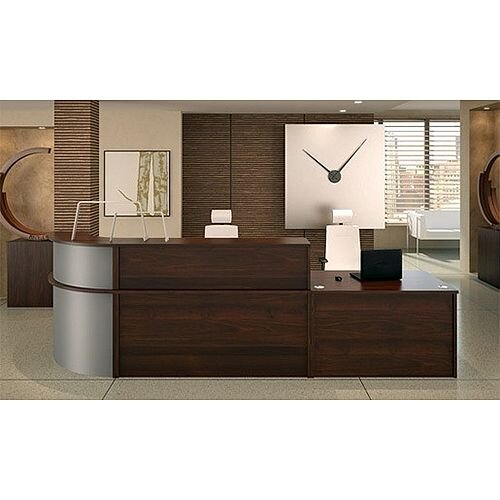 Ashford L-Shaped Modular Reception Unit Walnut Steel Finish RD1