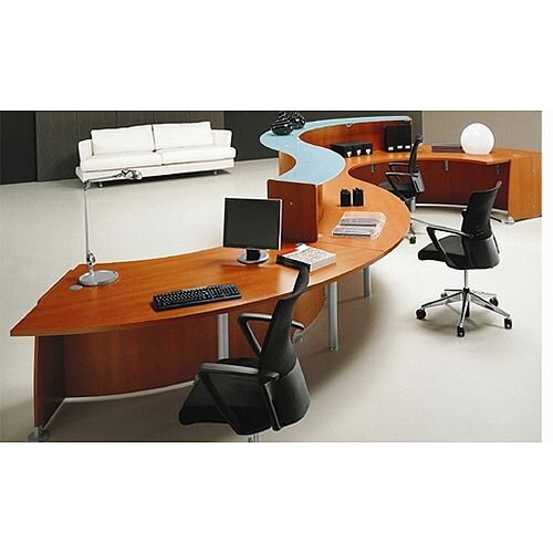 Large Waved Reception Desk Cherry Quadrifoglio Glass RD101