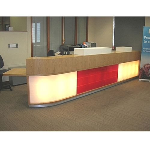 Large Reception Desk Wooden Illuminated Front RD104