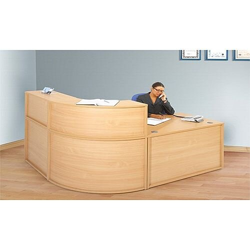 L Shaped Budget Reception Desk Beech RD22