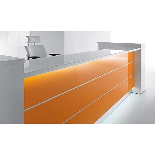 Valde  High Gloss Illuminated Modern Look Reception Unit  White Orange RD29