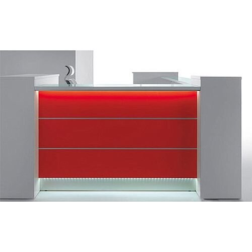 Valde Small L-Shaped Reception Unit Modern High Gloss White Red Illuminated Finish RD30