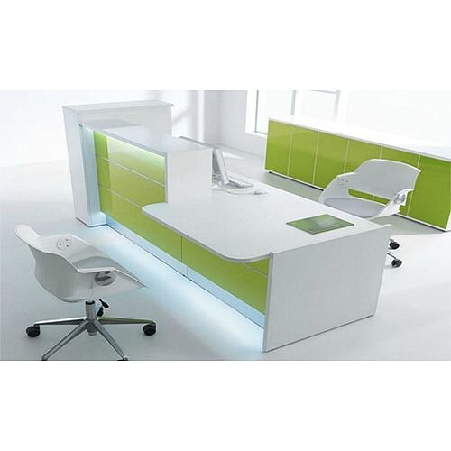 Valde Modern High Gloss Illuminated Desk With Low Level Section White Lime Green RD31