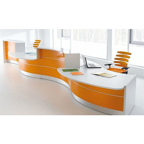 Valde Curved High Gloss Illuminated Reception Desk Modern White Orange Finish RD32