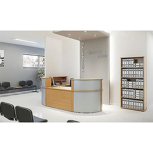 Ashford L-Shaped Modular Reception Desk In Beech With Steel Corner Units RD4