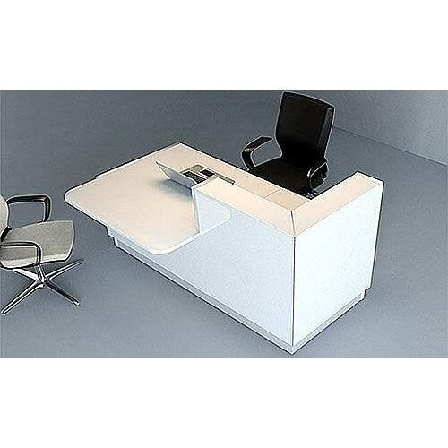 Linea Minimalist Design Small Reception Desk Gloss White