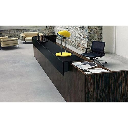 Dark Wood Finish Straight Design Reception Desk Black  Counter Top Fact RD68