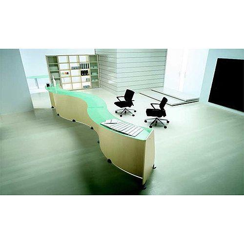 Curved Reception Desk Light Oak Glass Counter Top RD76