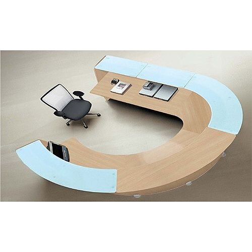 Round Front Reception Desk Oak Glass Counter Top RD86