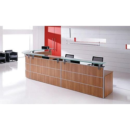 Large L-Shaped Wooden Reception Desk Glass Counter Top  Rock RD91