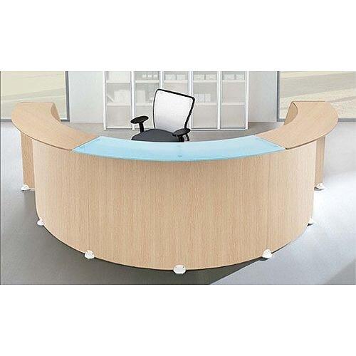 Semi-Circular Shape Reception Desk Oak Glass Counter Top RD98